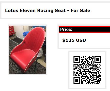 Lotus Eleven Racing Seat - For Sale on RaceClass.com
